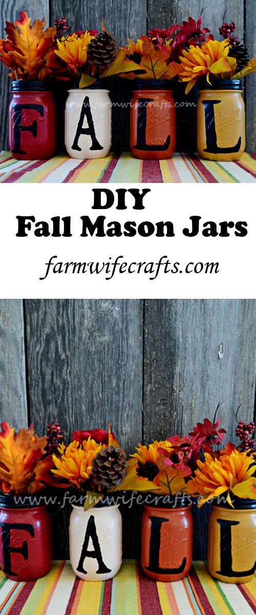 The perfect fall craft that uses mason jars. Will look great on any mantle or anywhere in the house.