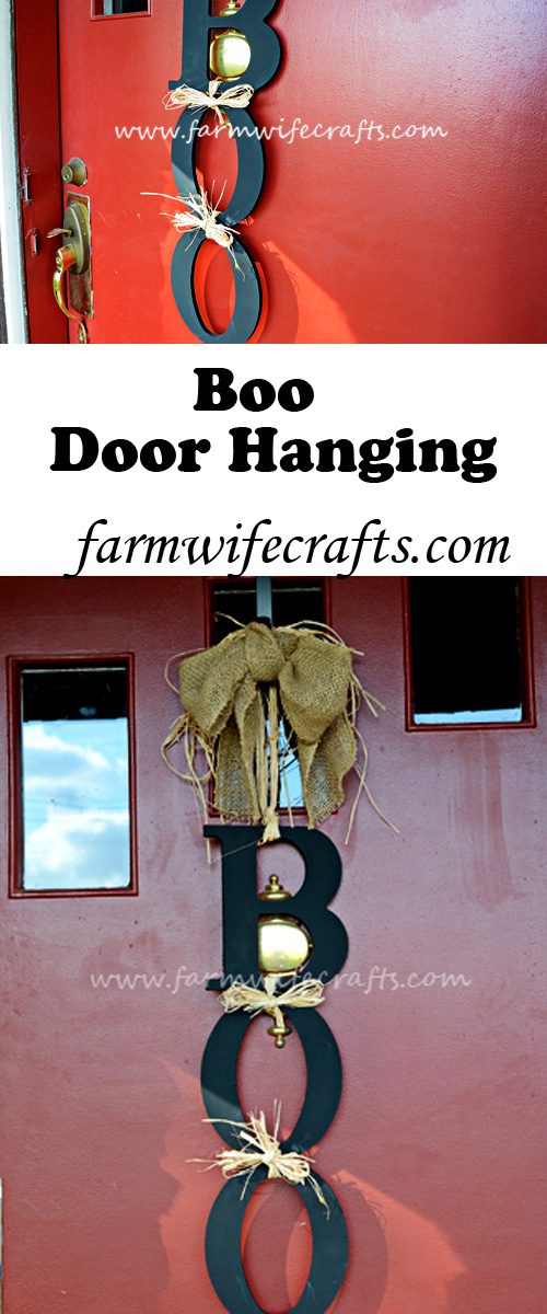 spruce up your door this Halloween with this easy to make Boo Door Hanging