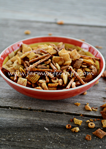 The same old traditional holiday Chex Mix only made in the crockpot. So easy.