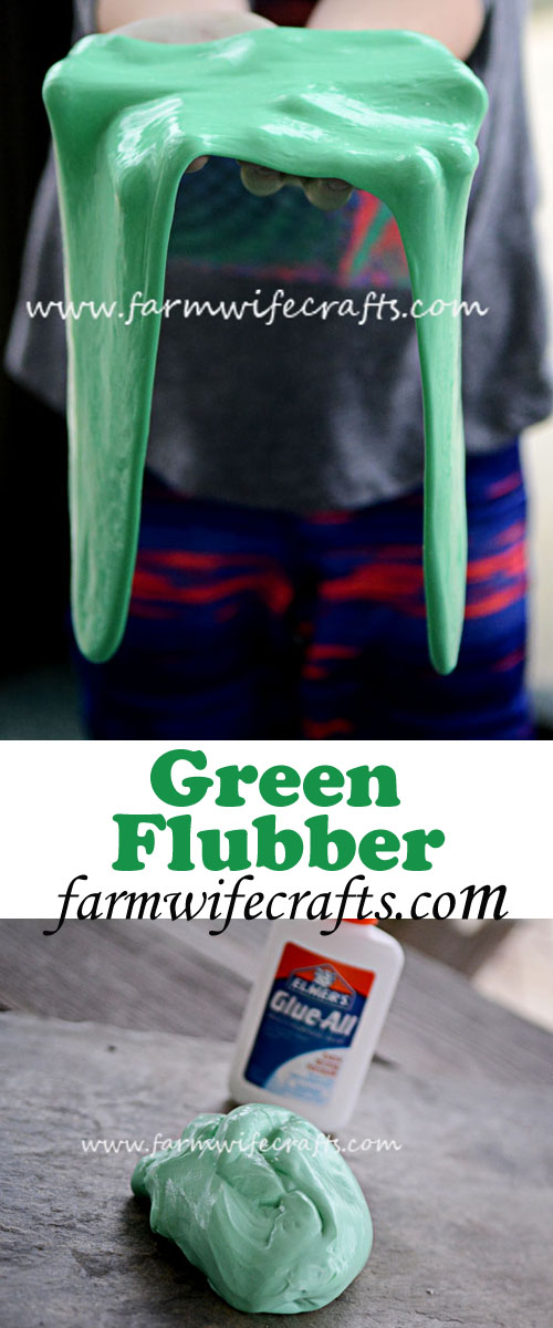 Easy to make green flubber provides hours of entertainment.
