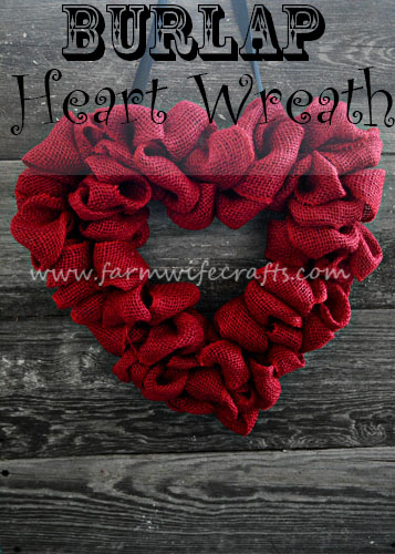 An easy to make heart burlap wreath perfect for sprucing up any door for Valentines Day.