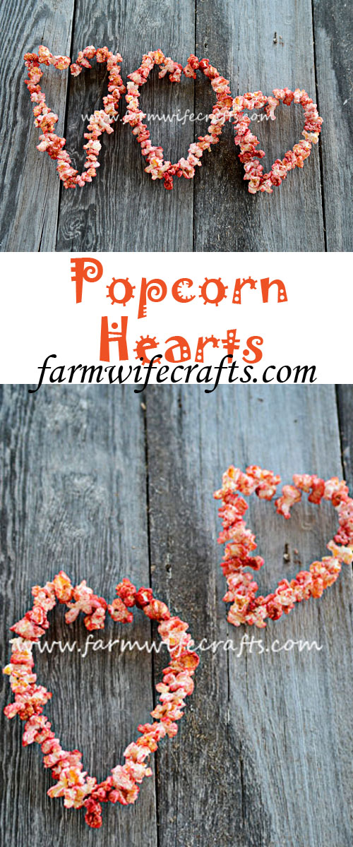 These popcorn hearts are a fun and unique way to decorate for Valentine's Day.