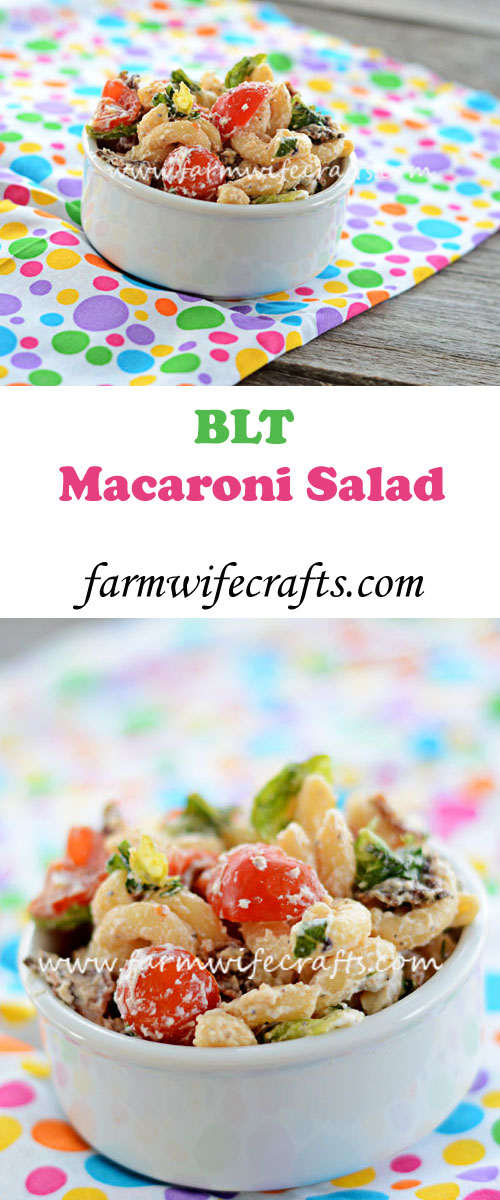 This BLT macaroni salad is delicious and perfect for summer cookouts or any other time of the year.