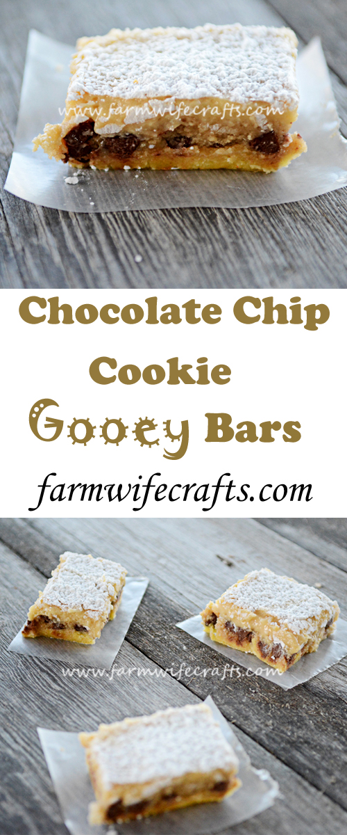 These chocolate chip cookie gooey bars definitely live up to their name. The perfect amount of chocolate chips make this a great twist on the favorite chocolate chip cookie.