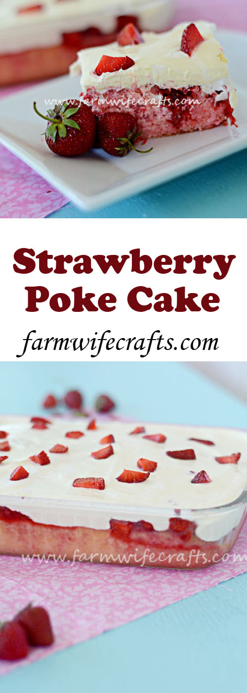 This strawberry Poke Cake is the perfect summertime dessert.