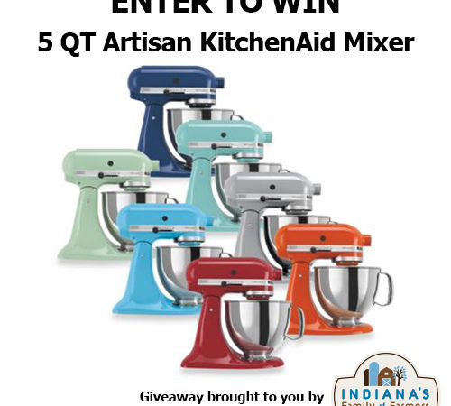 Enter to win a 5Qt. Artisan KitchenAid Mixer from Indiana's Family of Farmers by taking a short survey about food and farming.