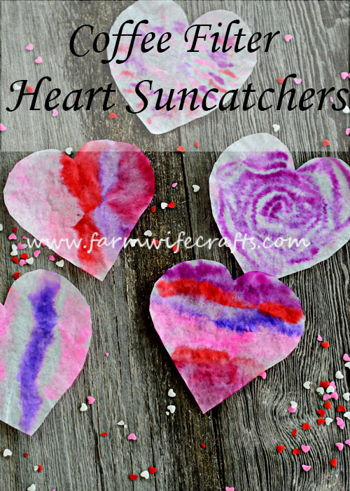 I'm definitely ready for some bright colors around here. These Coffee Filter Heart Suncatchers are sure to brighten up any window this Valentine's Day.