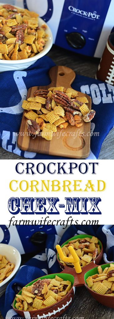 The temperatures are dropping and that can only mean one thing, harvest is almost here:)!!!  Oh wait, and football season!!!  This recipe if Crockpot Cornbread Chex-Mix is perfect for your next tailgate of football party.