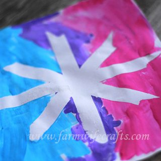 Snowflake Painting with Masking Tape