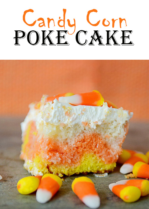 Wow your little goblins this Halloween with this easy to make Candy Corn Poke Cake.  It only takes 5 ingredients and is so simple to make, but everyone will think you worked your tail off creating this masterpiece!