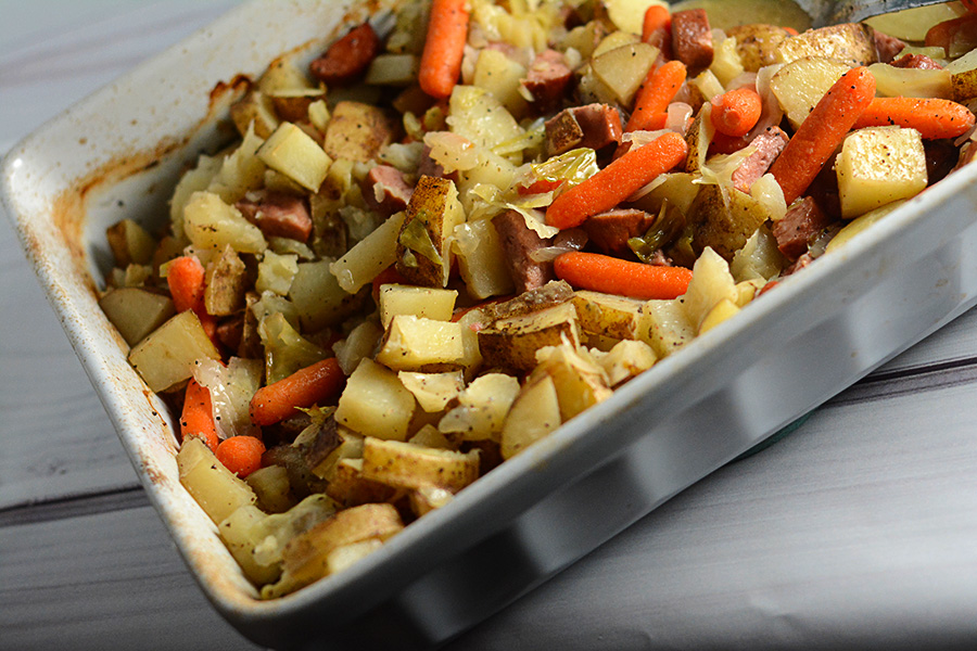 add some variety to your next cookout with this Hobo Casserole with Smoked Sausage.