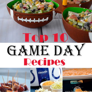 I hear there's a big game coming up soon! Whether you are hosting a party, attending a party, or just relaxing at home while watching the big game (like us!), you might be wondering what to munch on while watching the commercials....I mean game:) I have compiled my top 10 game day recipes to help ease the planning process a bit for you!
