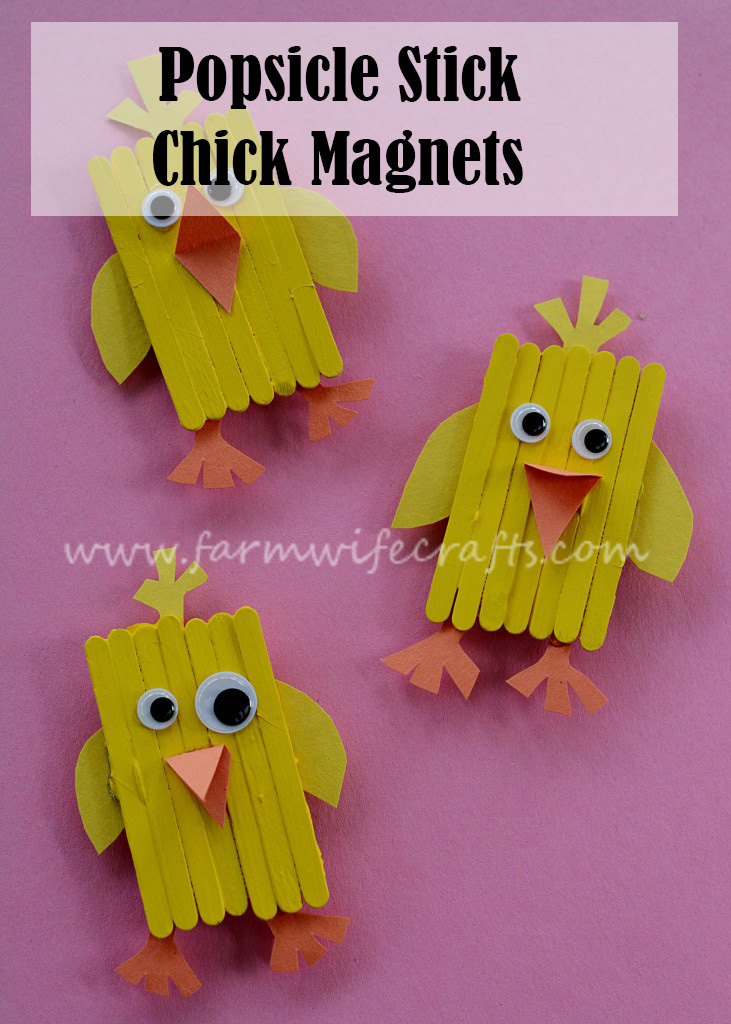 The girls and I made these adorable Popsicle stick chick magnets to go with Crystal's lesson.
