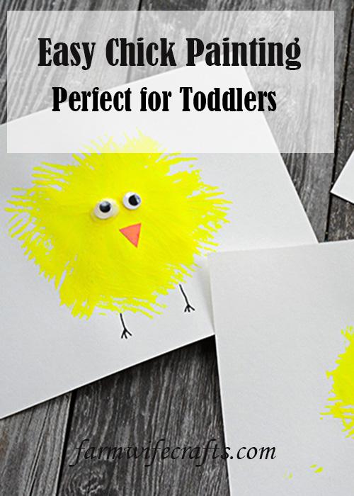 Are you looking for some easy Easter crafts to make with your kids while their home?  This Easy Chick Fork Painting is super easy to make!