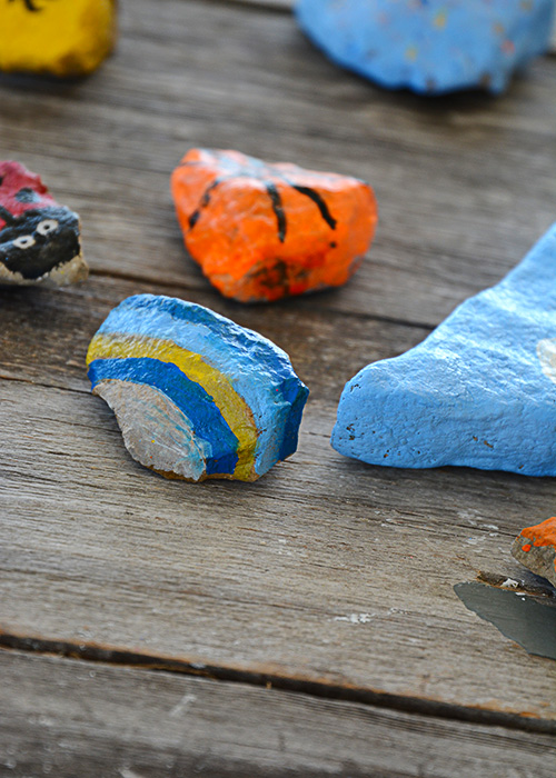"Have you all heard of the kindness project with painted rocks?  Well, we jumped on the bandwagon even if we didn't follow the ""rules,"" but that's just how we roll."