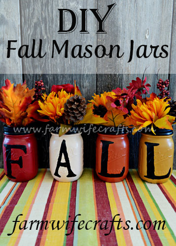 These Fall Mason Jars will look perfect on your mantle.