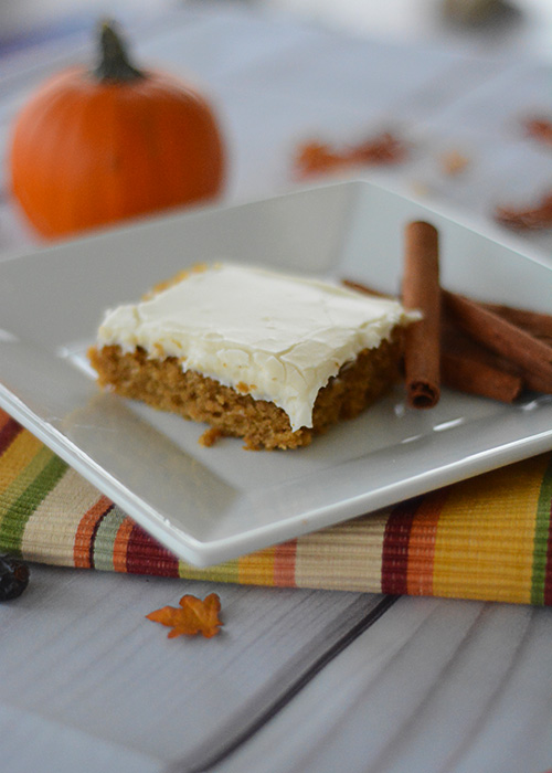 It's starting to feel like Fall and that means all things PUMPKIN! These Pumpkin Bars with Cream Cheese Frosting are the perfect Fall dessert!