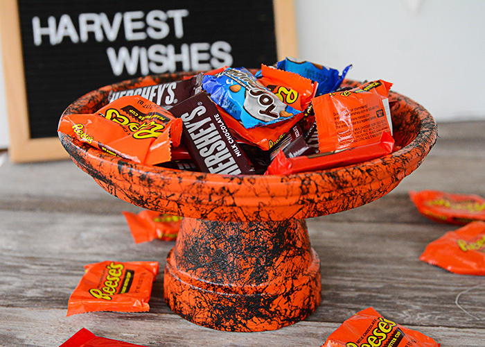 It's almost Halloween and that means all things spooky and sweet!  This DIY Halloween Candy Dish is the perfect place to stash all your sweet Halloween candy for Trick-or-Treaters.